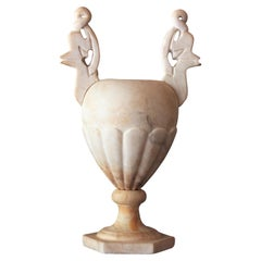 Neoclassical Art Deco Alabaster Urn Lamp with Handles