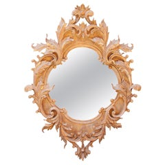 Neoclassical Baroque Acanthus Leaf Gold Foil Hand Carved Wooden Mirror, 1970