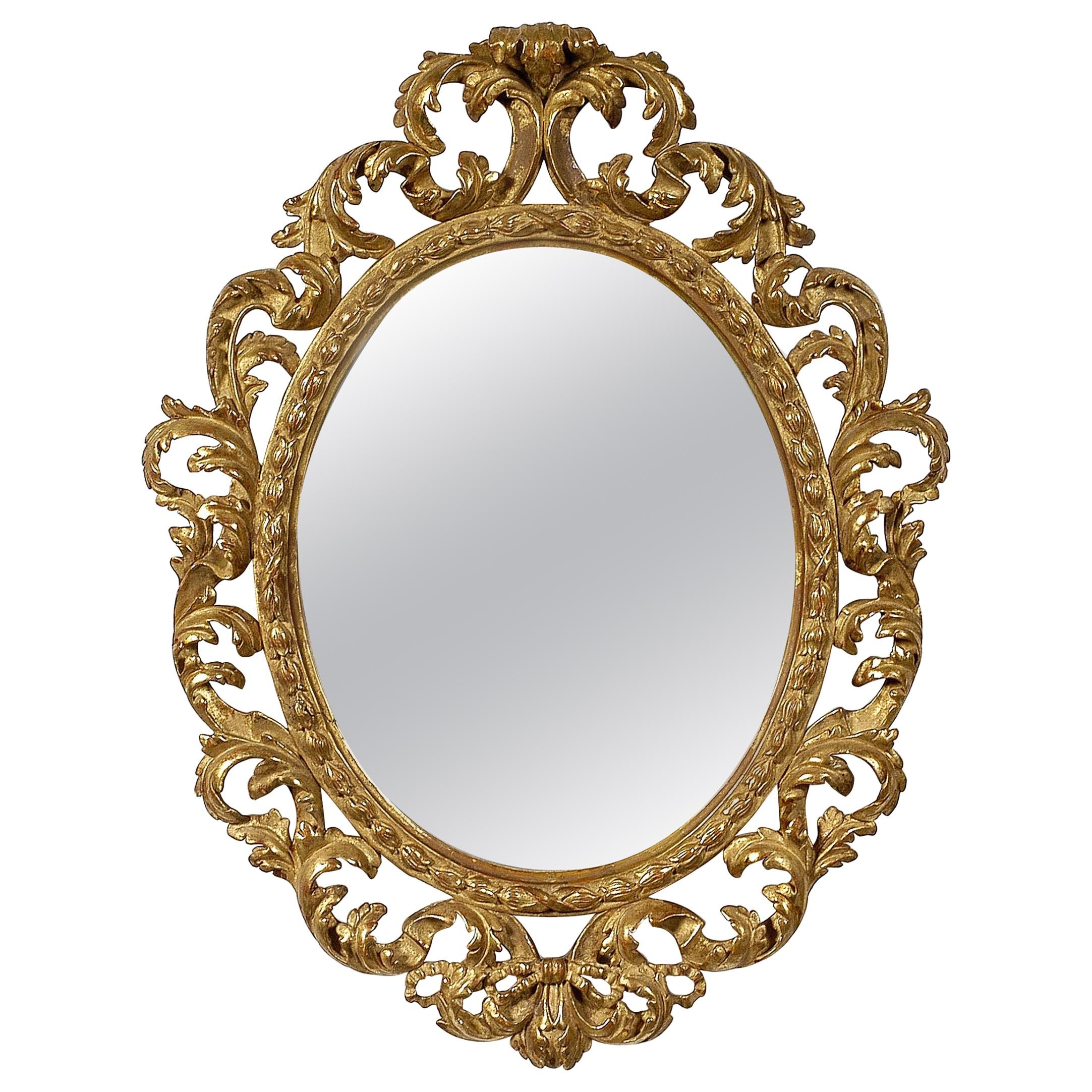 Neoclassical Baroque Leaf Gold Foil Hand Carved Wooden Mirror, 1970