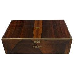Neoclassical Biedermeie Box, Rosewood Veneer, Brass Inlays, England, circa 1830