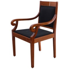 Neoclassical Biedermeier Armchair, Cherry Solid Wood, South Germany, circa 1900
