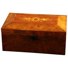 Neoclassical Biedermeier Decorative Box, Walnut Veneer, South Germany circa 1840