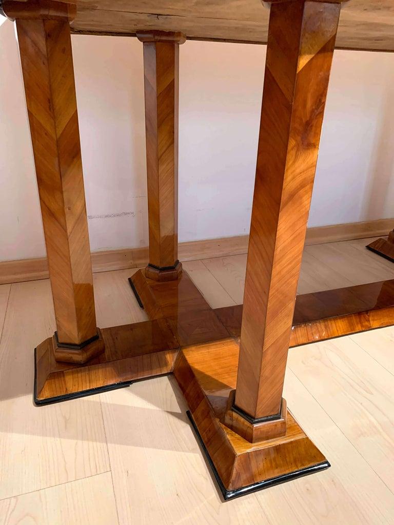 Neoclassical Biedermeier Desk, Cherry Veneer, Six Columns, Austria, circa 1830 For Sale 5