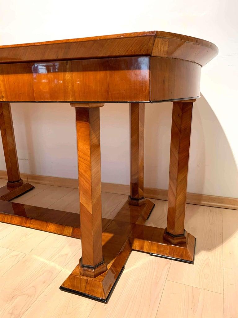 Neoclassical Biedermeier Desk, Cherry Veneer, Six Columns, Austria, circa 1830 For Sale 6