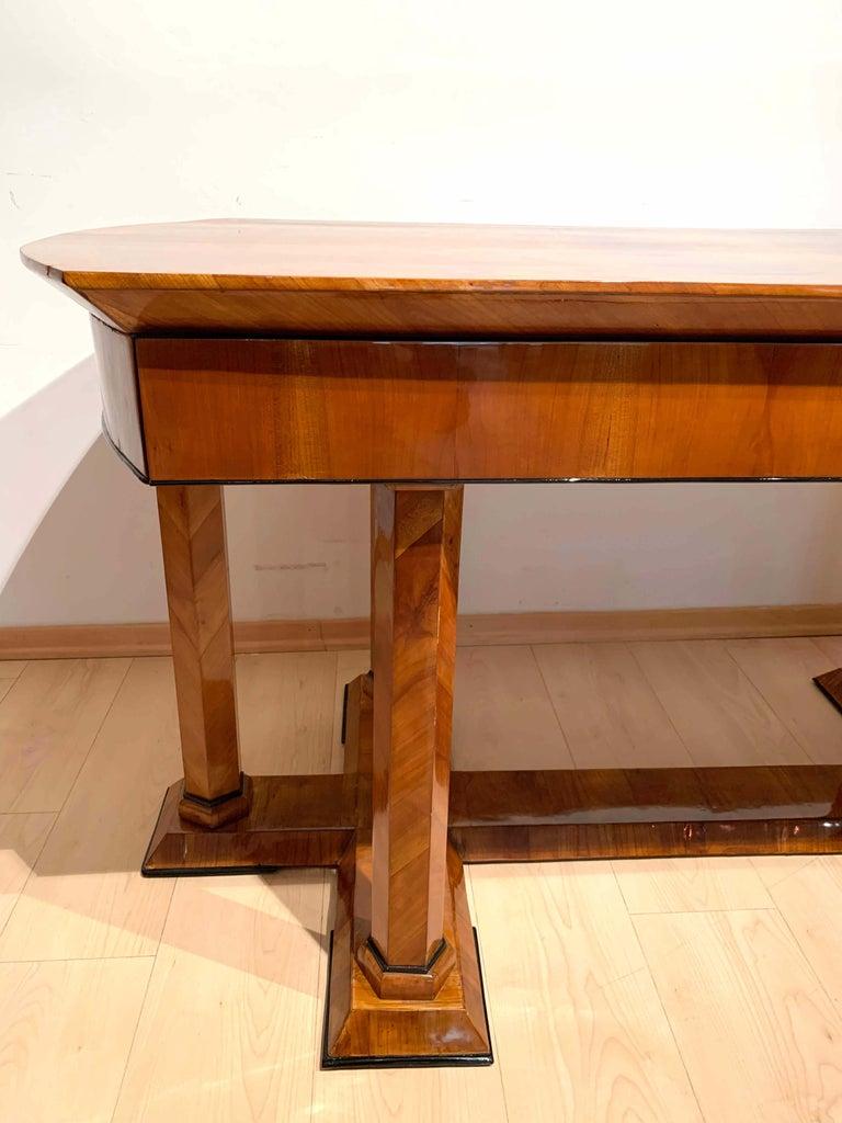 Neoclassical Biedermeier Desk, Cherry Veneer, Six Columns, Austria, circa 1830 For Sale 8