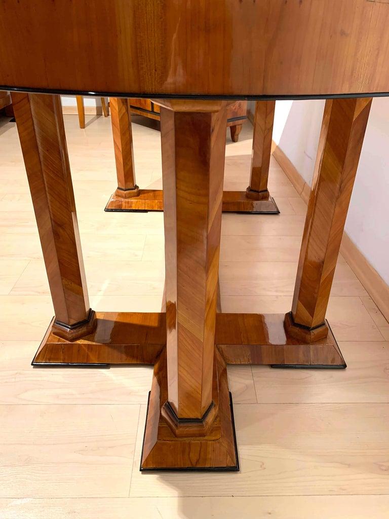 Neoclassical Biedermeier Desk, Cherry Veneer, Six Columns, Austria, circa 1830 For Sale 13