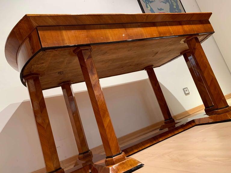 Neoclassical Biedermeier Desk, Cherry Veneer, Six Columns, Austria, circa 1830 For Sale 14