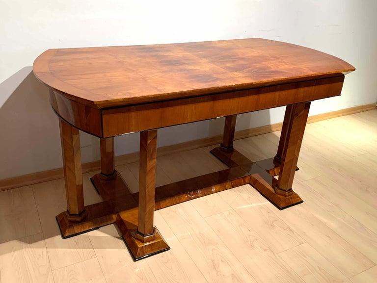 German Neoclassical Biedermeier Desk, Cherry Veneer, Six Columns, Austria, circa 1830 For Sale