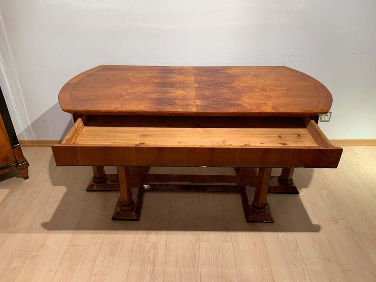 Mid-19th Century Neoclassical Biedermeier Desk, Cherry Veneer, Six Columns, Austria, circa 1830 For Sale