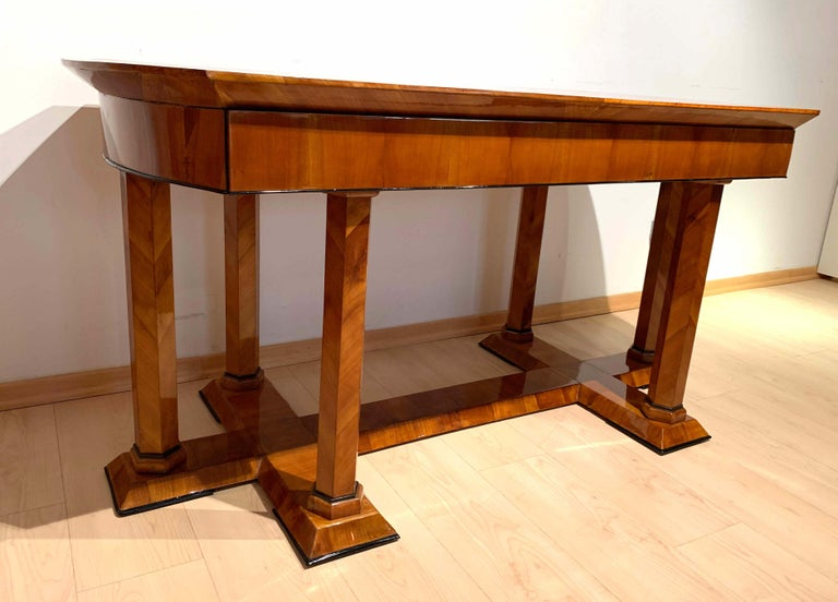 Neoclassical Biedermeier Desk, Cherry Veneer, Six Columns, Austria, circa 1830 For Sale 1