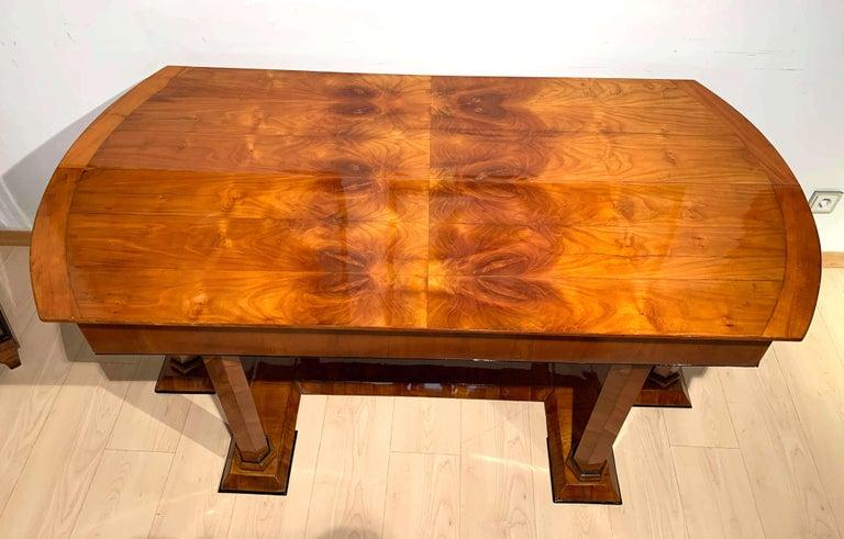 Neoclassical Biedermeier Desk, Cherry Veneer, Six Columns, Austria, circa 1830 For Sale 2