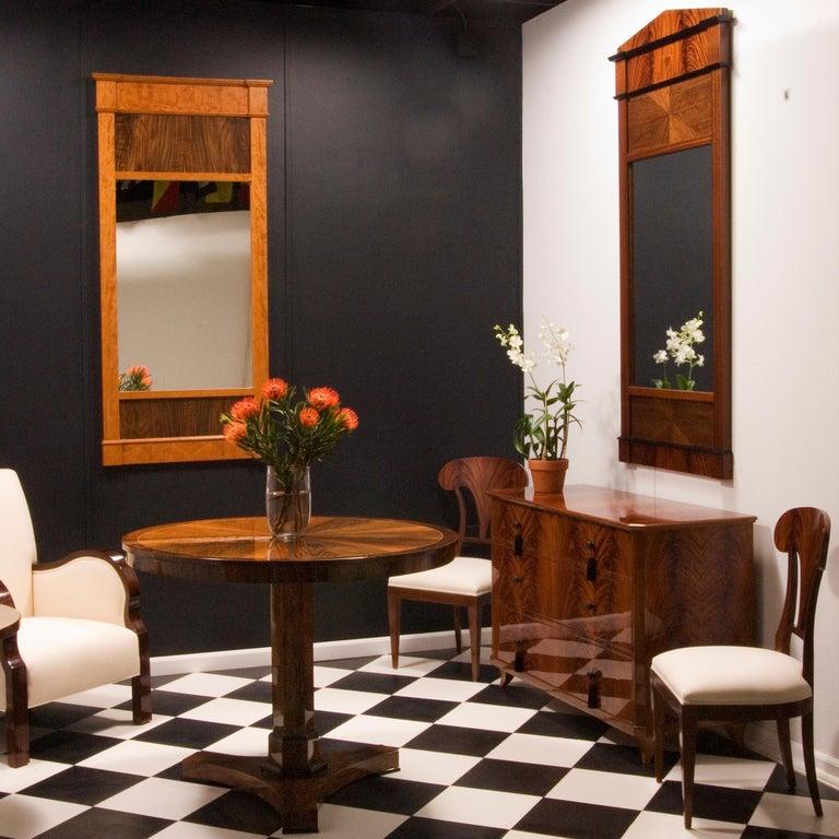 Mahogany Tas de Bois series Neoclassical Biedermeier Style Wall Mirror For Sale