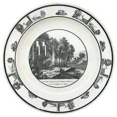 Neoclassical Black and White Creamware Plate