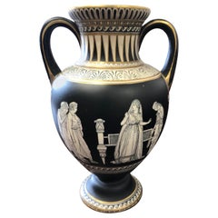 Neoclassical black and white Prattware Vase