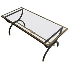 Neoclassical Black Steel and Brass Coffee Table, circa 1950