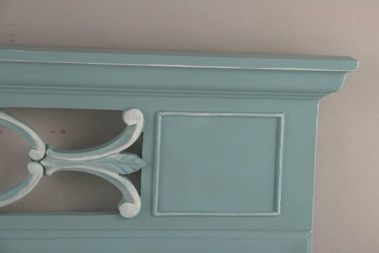 1-4072 neoclassical style vintage mirror hand painted in a pale blue.