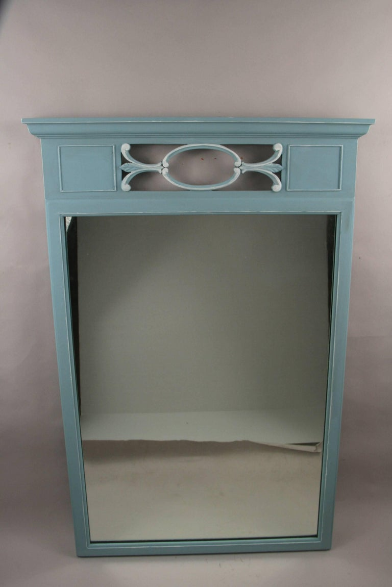 Neoclassical Blue Mirror In Good Condition For Sale In Douglas Manor, NY