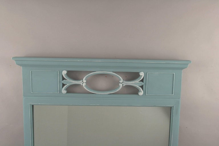 Mid-20th Century Neoclassical Blue Mirror For Sale