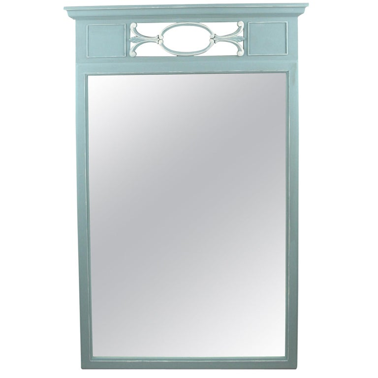 Neoclassical Blue Mirror For Sale