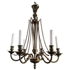 Neoclassical Brass and Bronze Chandelier, circa 1940