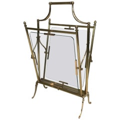 Neoclassical Brass and Glass Magazine Rack, circa 1940