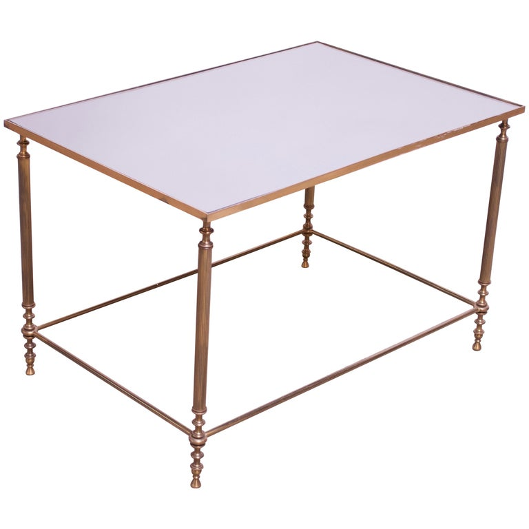 Neoclassical Brass And Mirror-Glass Coffee Table