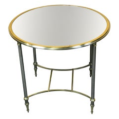 Neoclassical Brass and Silvered Gueridon with Mirrored Top