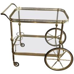 Neoclassical Brass Bar Cart French, circa 1940