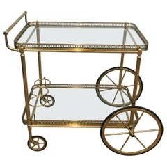 Neoclassical Brass Bar Cart with Large Wheels, French, circa 1940