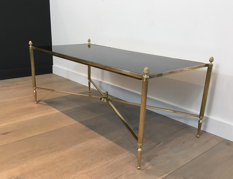 Neoclassical Brass Coffee Table with Black Lacquered Glass, French, circa 1940 For Sale 9