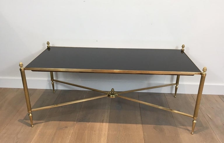 Neoclassical Brass Coffee Table with Black Lacquered Glass, French, circa 1940 For Sale 10