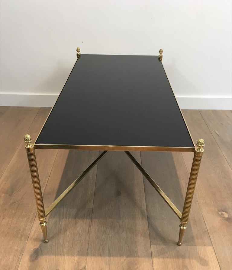 Neoclassical Brass Coffee Table with Black Lacquered Glass, French, circa 1940 For Sale 11