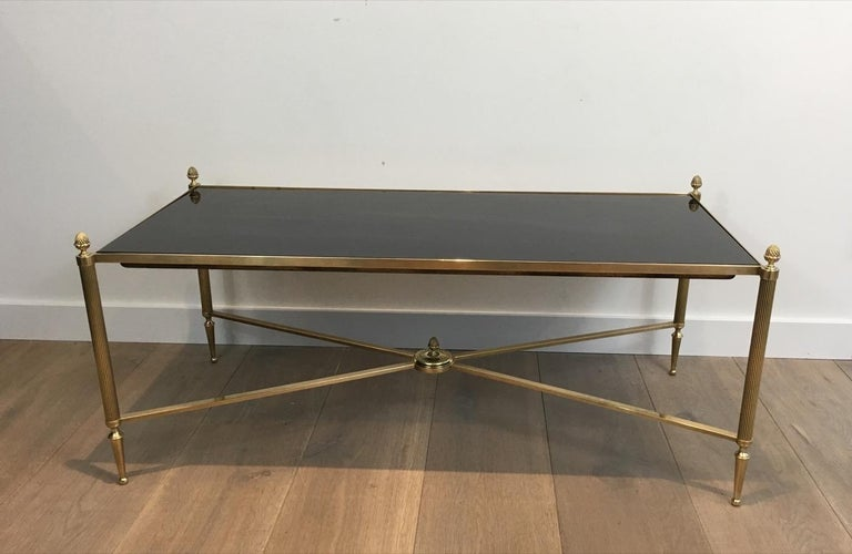 Neoclassical Brass Coffee Table with Black Lacquered Glass, French, circa 1940 For Sale 12