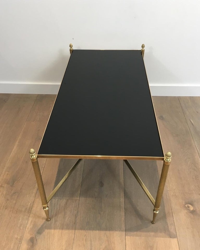 Neoclassical Brass Coffee Table with Black Lacquered Glass, French, circa 1940 For Sale 13