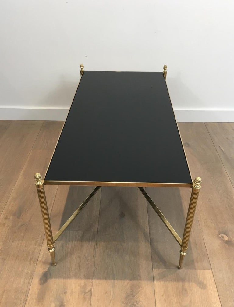 Neoclassical Brass Coffee Table with Black Lacquered Glass, French, circa 1940 For Sale 14