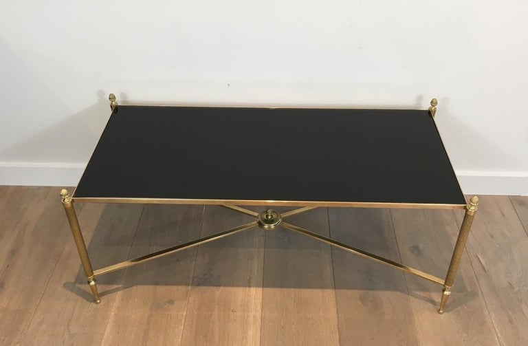 Neoclassical Brass Coffee Table with Black Lacquered Glass, French, circa 1940 For Sale 15