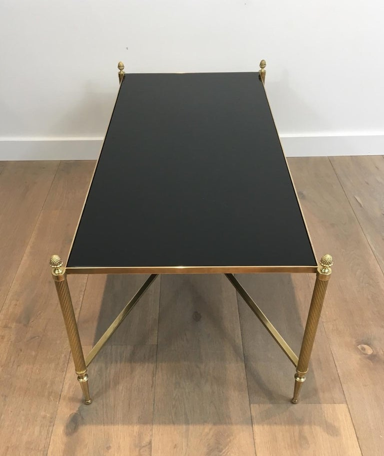 Neoclassical Brass Coffee Table with Black Lacquered Glass, French, circa 1940 In Good Condition For Sale In Marcq-en-Baroeul, FR