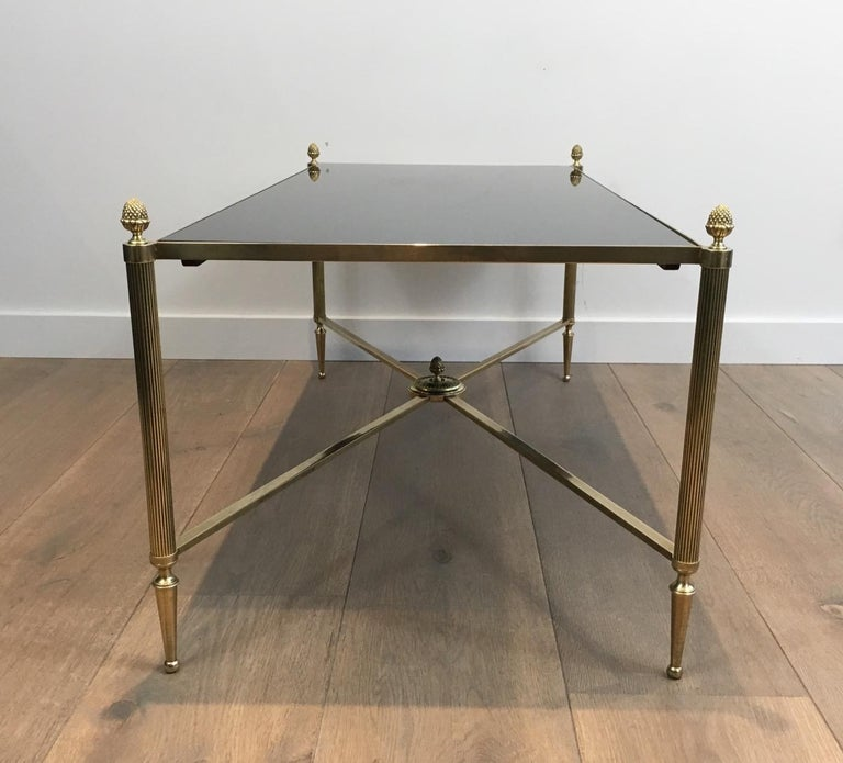 Mid-20th Century Neoclassical Brass Coffee Table with Black Lacquered Glass, French, circa 1940 For Sale