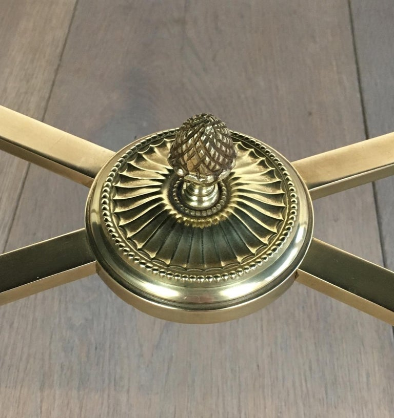 Neoclassical Brass Coffee Table with Black Lacquered Glass, French, circa 1940 For Sale 5
