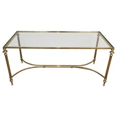 Neoclassical Brass Coffee Table with Glass Top, French, circa 1940