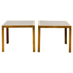 Neoclassical Brass Grate End Tables with Glass Tops