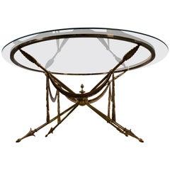 Neoclassical Brass Jansen Style Gueridon Coffee Table on Arrow Legs