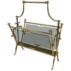 Neoclassical Brass Magazine Rack with Blueish Glass Panels, French