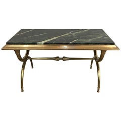 Neoclassical Bronze and Brass Coffee Table with Green Marble Top French