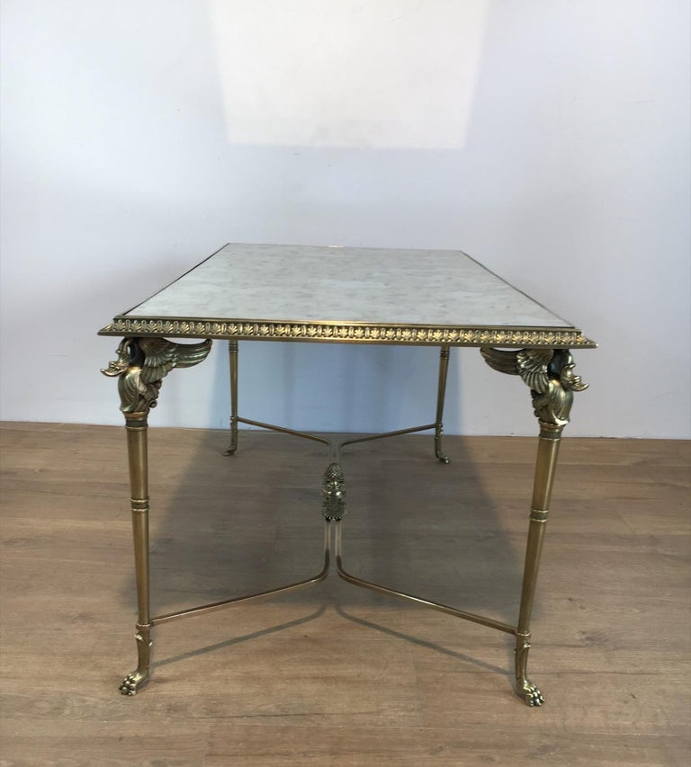 Neoclassical Bronze and Brass Coffee Table with Swanheads & Faux-Antique Mirrors For Sale 5