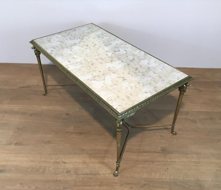 Neoclassical Bronze and Brass Coffee Table with Swanheads & Faux-Antique Mirrors For Sale 7