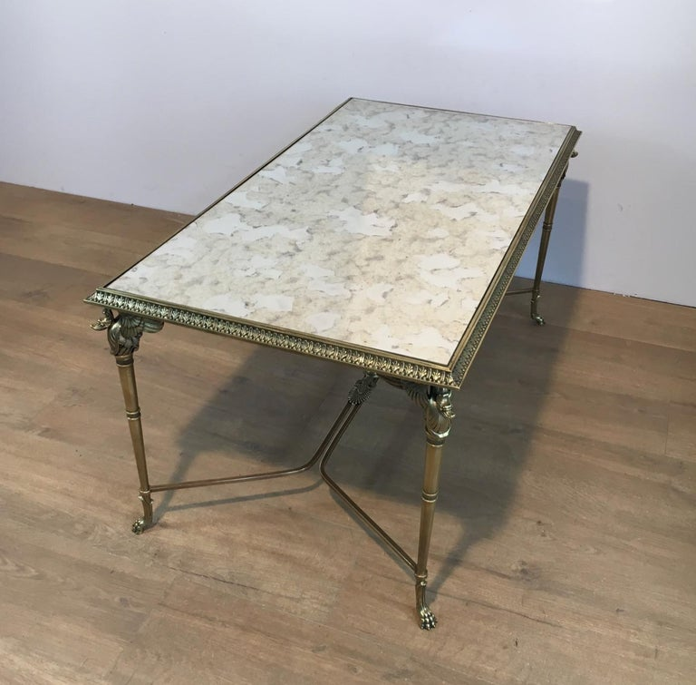 Neoclassical Bronze and Brass Coffee Table with Swanheads & Faux-Antique Mirrors For Sale 8