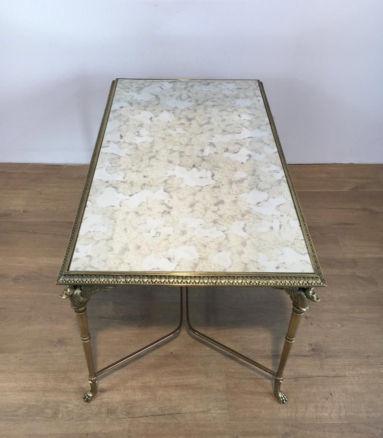 Neoclassical Bronze and Brass Coffee Table with Swanheads & Faux-Antique Mirrors For Sale 10
