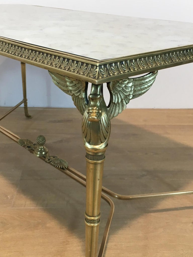 Neoclassical Bronze and Brass Coffee Table with Swanheads & Faux-Antique Mirrors For Sale 11