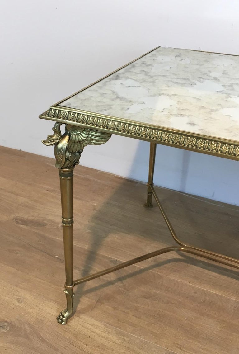 French Neoclassical Bronze and Brass Coffee Table with Swanheads & Faux-Antique Mirrors For Sale